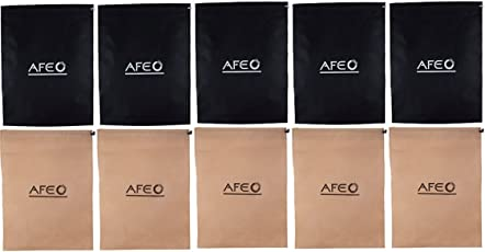 AFEO Black and Beige Non-Woven Fabric Shoe Bag, Pack of 10