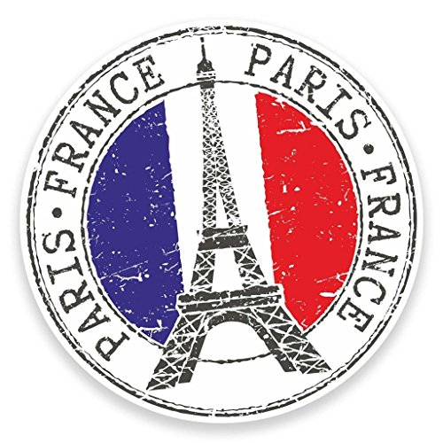 DestinationVinyl Vinyl-Aufkleber #9271, Motiv: Paris Eiffelturm, Frankreich, für Laptop, Reisegepäck, Auto, iPad, 2 x 10 cm