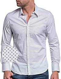 BLZ jeans - Chemise homme blanche cintré à motifs longues manches