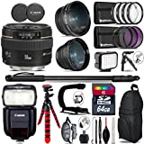 Canon EF 50mm F/1.4 USM Lens 2515A003 + Canon Speedlite 430EX III-RT Flash + 0.43X Wide Angle Lens + 2.2X Telephoto Lens + LED Kit + Stabilizing Handle + UV-CPL-FLD Filters - International Version