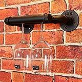 Weinregale Wein Shelef mit Glashalter, Wand Weinregal Metall-Eisen-an der Wand befestigte Wein-Regal-Retro- Wasser-Rohr-Hahn-Entwurf hängende Wein-Flaschen-Organisator-Wand-Dekorations-Anzeige, kann 2 Gläser, Schwarzes, L30 * D15cm halten Halter Ständer
