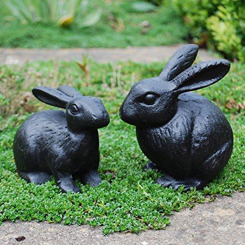 deco-jardin-mr-et-mme-lapin-figurines-en-fonte-noire