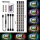 Bomcosy RGB TV LED Backlight Strip Lighting Kit with 24 Key Remote Control USB Powered 4 x 50cm 16 Multi Colour Mood Lights for HDTV Home Theater Desktop PC
