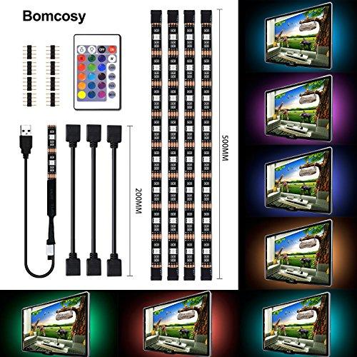Bomcosy RGB Retroiluminación LED de TV USB corriente Control Remoto de 24 Botones 4 x 50cm 16 Colores Multibles Ambiente de Iluminación para HDTV Monitor De PC