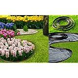 Bordure de pelouse Chris broches Système Noir Bordure de bordure de parterre 10m de long en plastique flexible pavés mähkante (4cm) + 6ongles par mètre