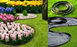 Bordura per aiuole nero Chrispol System - lunghezza 10 metri, altezza 4 centimetri - bordi per aiuole flessibile - bordura per giardino plastica + 60 chiodi di fissaggio