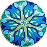 Grund Badteppich 100% Polyacryl, ultra soft, rutschfest, ÖKO-TEX-zertifiziert, 5 Jahre Garantie, STILLES LICHT, Badematte 60 cm rund, blau grün