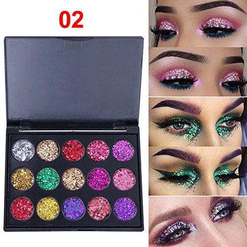 Aberimy 15 Farben Lidschatten Palette Makeup Eyeshadow Schimmern Sie Glitter Schimmer Glitzer Lidschatten Matt Eyeshadow Wasserdicht Permanent Augenschatten Make-up Kosmetische Paletten -#2