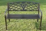 Banc de jardin en métal avec insert à motif floral, ENSEMBLE COMPLET AVEC COUSSIN d'une valeur de 39,50 offert lors de l'achat chez Olive Grove. (Bleu)...