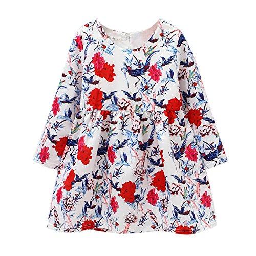 Mädchen lange Ärmel Blume und Vogel print pettiskirt Prinzessin Kleid YunYoud latzrock winterkleid...