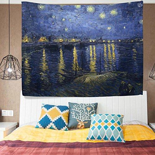 ALAZA Vincent Van Gogh Kunst Ölgemälde Sternennacht über der Rhone Wandteppich für Decor Polyester-leichtes-Cottage Wohnheim Art Wand Home Dekoration 203,2x 152,4cm, Textil, blau, 80x60(in)