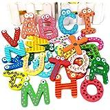 Generic lindo moda increíble divertido 26letras de la A a la Z magnético letras de madera del alfabeto imán para nevera niños juguetes educativos (Pack de 26piezas)