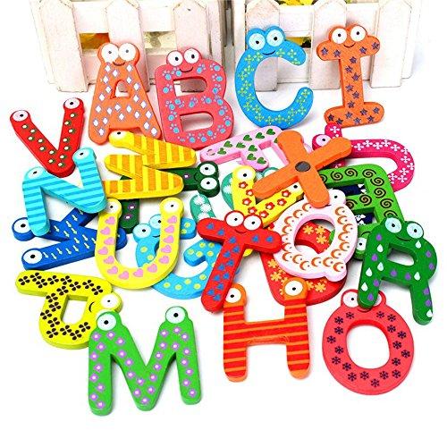 Generic Cute Modische Amazing Fun 26A-Z Magnet-Buchstaben Buchstaben Holz Alphabet Kühlschrank Magnet Kinder Bildungs-Spielzeug (26Stück)