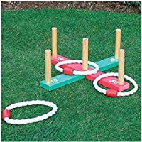 KandyToys Starmo Wooden Garden Indoor Outdoor Quoits Pegs & Rope Hoopla Family Fun Game Summer
