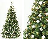 Künstliche Weihnachtsbäume mit Christbaumkugeln silber farbig, Höhe 210cm mit Beleuchtung