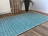Teal Azul Natural Herringbone algodón lana alfombra 120cm x 180cm