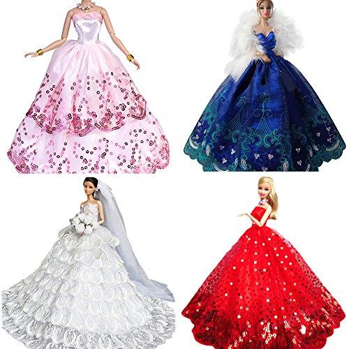 Creation® 4PCS Das Erstaunlichste Kleid Handarbeit die Barbie-Puppe bestes Geschenk für kleine Mädchen zu passen