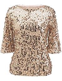 BYD Mujeres Camisetas Manga Corta Lentejuelas Brillantes T shirt Túnica Blusas Camisas Tops