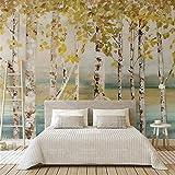 REAGONE 3D Vliestapete Nordic Minimalistischen Stil Birke Grove Malerei Sofa Tv Hintergrund Wandmalerei Wandverkleidung, 350X245 Cm (137.8 Von 96.5 In)