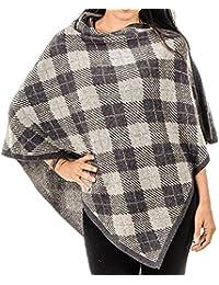 BLACK Two Tone Grey Tartan Cashmere Poncho