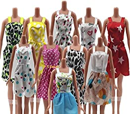 P S Retail Handmade Party Clothes Fashion Dress Compatible With Barbie Doll (Assorted) Pack of 12