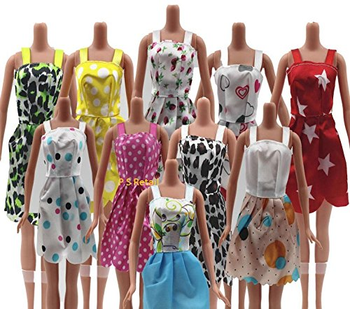 P S Retail Doll Accessories - Beautiful Handmade Party Clothes Fashion Dress for Barbie Doll - (Size: 14CM approx, Random Pick 12 dresses/set)