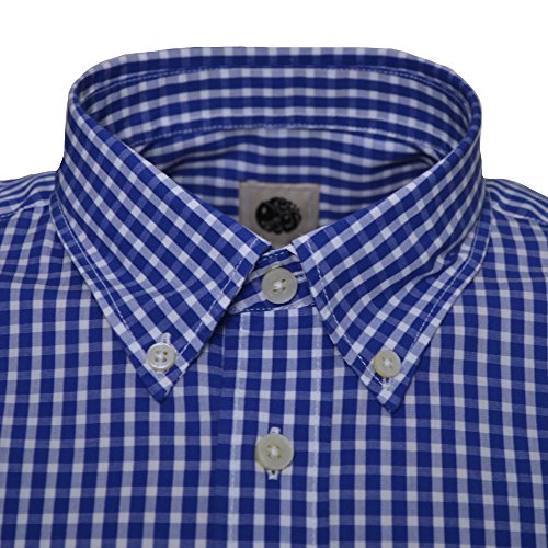 Pretty Green Men's Navy Blue Ebsworth Gingham Long Sleeve Shirt blue
