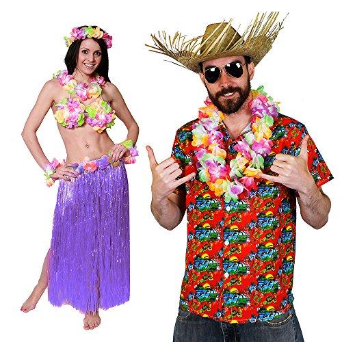 ii KAPITÄN-Rotes Hemd=Paare KOSTÜM Verkleidung= 5 GRÖSSEN=BASTROCK 80 cm Lang+ Hula BH+ Lei Sets+Hawaii Hemd + Beachcomber Strohhut +Brille =XLarge + BASTROCK -Lila ()