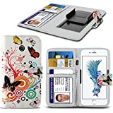 Spyrox - Tp-Link Neffos C5 Case PU Leather Colourful Butterfly Printed Design Pattern Wallet Clamp Style Spring Skin Cover