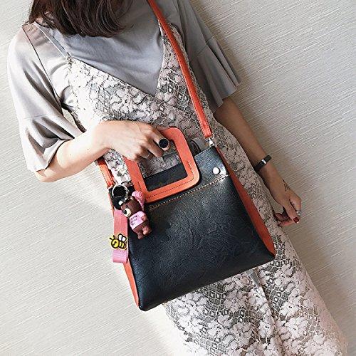 Fabelhaft Neue Schlag-Farben-Handtaschen-Art- Und Weisekind-kleine Quadratische Tasche BlackWithOrange