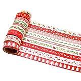K-LIMIT 10er Set Washi Tape Dekoband Masking Tape Klebeband Washitape Scrapbooking DIY Weihnachten Merry Christmas Rot 8755