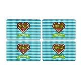 ebos 4er-Set | 4x Bavaria Brotzeit-Brettl | Schneidebrett, Bayern-Frühstücksbrettchen, Kunststoffbrett | spülmaschinengeeignet, rutschfest (blau-weiß)