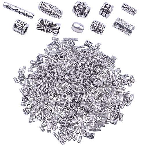 BronaGrand 100 g (environ 350-400 pièces) Perles intercalaires en argent antique pour collier, pendentifs, bijoux, accessoires pour fabrication de bracelets, colliers, bijoux