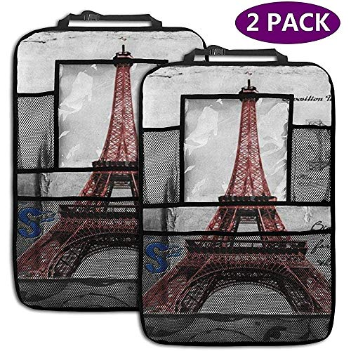 W-wishes Tappetini protettivi per Sedile Posteriore per Auto per Sedile Posteriore per Torre Eiffel di P