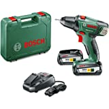 Bosch Visseuse sans Fil PSR 18 LI-2 (2 Batteries, Chargeur, Embout de Vissage Double, Coffret, Système 18V, 2,5 Ah)