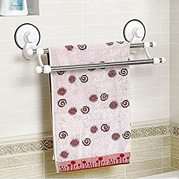 Funkybuys White Chrome Bathroom Towel Rack Si 085 Double Towel Rail