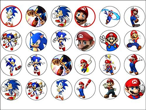 24 Sonic The Hedgehog Super Mario Edible Wafer Paper Cup Cake Toppers by CakeThat by CakeThat