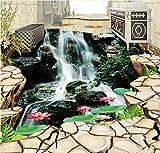 Weaeo 3D-Bodenbeläge Fototapete Boden Riss Wasserfall Lotus Hintergrundbilder Für Wohnzimmer 3D Bodenfliesen 3D Wandbilder Pvc-Tapeten-120 X 100 Cm