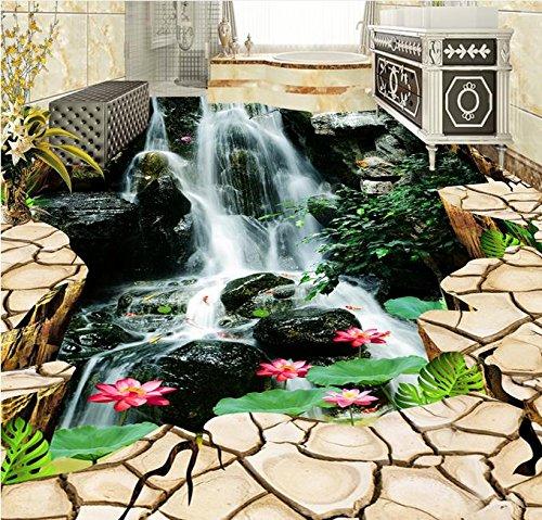 Weaeo 3D-Bodenbeläge Fototapete Boden Riss Wasserfall Lotus Hintergrundbilder Für Wohnzimmer 3D Bodenfliesen 3D Wandbilder Pvc-Tapeten-120 X 100 Cm (Himmel Auf Boden)