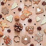 20 Servietten Lebkuchen Weihnachten Herzen Sterne Advent 33x33 cm