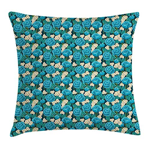 ziHeadwear Blue Floral Throw Pillow Cushion Cover, Romantic Bedding Plants in Full Blossom Blue Roses and Wildflowers Bouquet, Decorative Square Accent Pillow Case, 18 X 18 Inches, Multicolor -