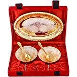 Art Bazar Silver And Golden Plated, Tray, Bowl With Spoon Set, 50 Ml, 5-Piece, Gold (JPGS101)