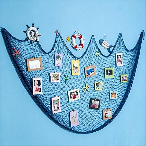 Dremisland Fischernetz Foto Anzeige - Bilderrahmen Collagen Galerie Foto Ecken mit 40 mini Wäscheklammern Weihnachts Wand Dekoration zum Aufhängen von Fotos, Bildern, Postkarten und Kunst