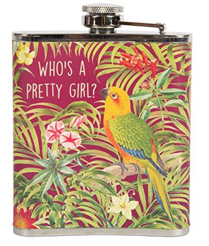 Flachmann Papagei Who's a pretty girl? aus rostfreiem Stahl 9,5x12cm