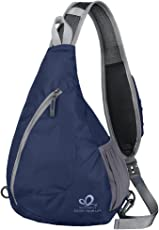 WATERFLY Sling Backpack Foldable Crossbody Chest Bag for Traveling Cycling Walking Hiking Boys Girls Men Women
