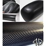 """4D Fibre Carbone Vinyle Autocollant Car wrap - Noir 0.3m x1.52m (11.8"""" x59.8"""") (30cm x152cm)"""