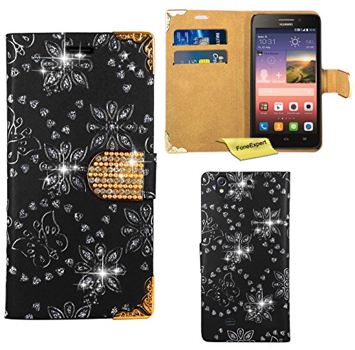 Huawei Ascend G620S Handy Tasche, FoneExpert® Bling Luxus Diamant Hülle Wallet Case Cover Hüllen Etui Ledertasche Premium Lederhülle Schutzhülle für Huawei Ascend G620S / Huawei Honor 4 Play (Schwarz)