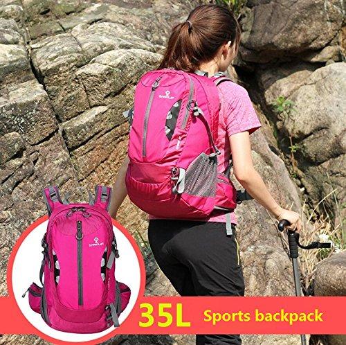 LF&F backpack 35L wasserdichtes Nylon im Freien Bergsteigen Rucksack Freizeit-Reise-Umhängetasche Daypacks Multi pocketed Portable Gepäck Tasche langlebig Anti-Riss Dark Blue