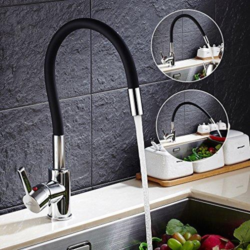 Auralum – Design-Küchenarmatur mit flexiblem Brausehals, Schwarz - 7