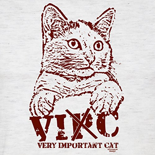 Geschenk für Katzenfreunde :-: T-Shirt mit Katzen Motiv :-: VIC :-: Geschenkidee für Tierfreunde zum Geburtstag Vatertag Weihnachten :-: Farbe: grau Grau